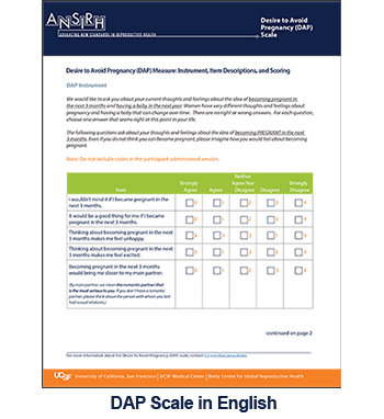 Desire to Avoid Pregnancy (DAP) scale | ANSIRH